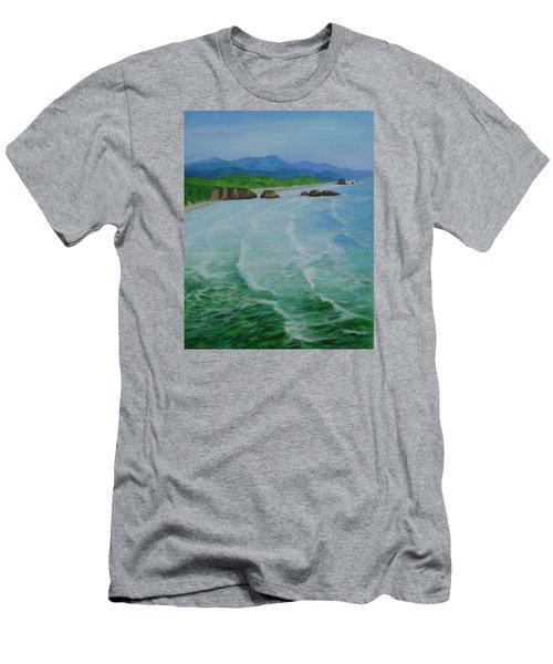 Colorful Seascape Oregon Cannon Beach Ecola Landscape Art Painting Men's T-Shirt (Slim Fit) by Elizabeth Sawyer