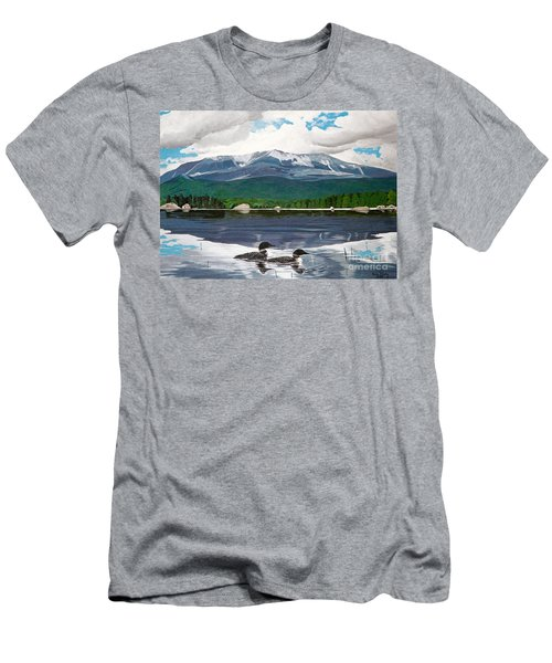 Common Loon On Togue Pond By Mount Katahdin Men's T-Shirt (Athletic Fit)