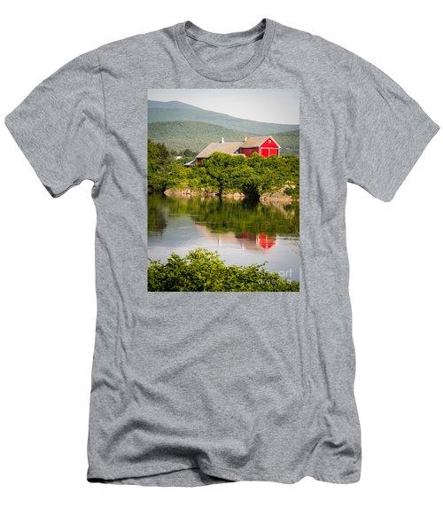Men's T-Shirt (Athletic Fit) featuring the photograph Connecticut River Farm by Edward Fielding