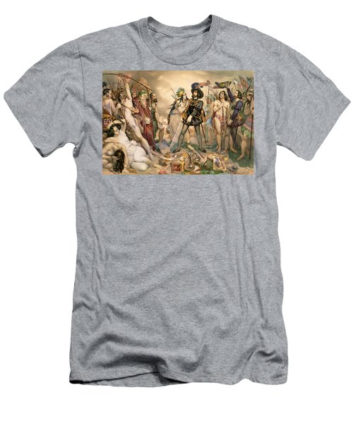 Conquest Of Mexico Hernando Cortes Destroying His Fleet At Vera Cruz Men's T-Shirt (Athletic Fit)