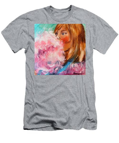 Men's T-Shirt (Slim Fit) featuring the painting Cotton Candy by Karen  Ferrand Carroll