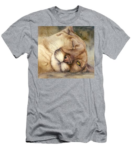 Men's T-Shirt (Slim Fit) featuring the painting Cougar    I See You     by Bonnie Rinier