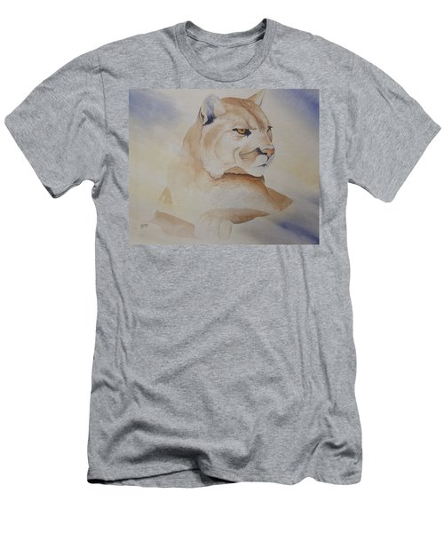Men's T-Shirt (Slim Fit) featuring the painting Cougar On Watch by Richard Faulkner