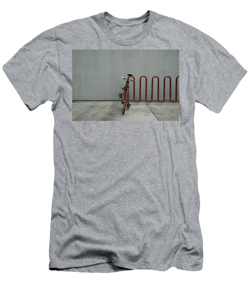 Men's T-Shirt (Slim Fit) featuring the photograph Curved Rack In Red - Urban Parking Stalls by Steven Milner