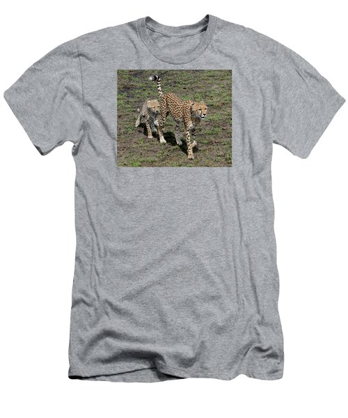 Men's T-Shirt (Slim Fit) featuring the photograph Cute Cheetah Wait For Me Mommy by Tom Wurl