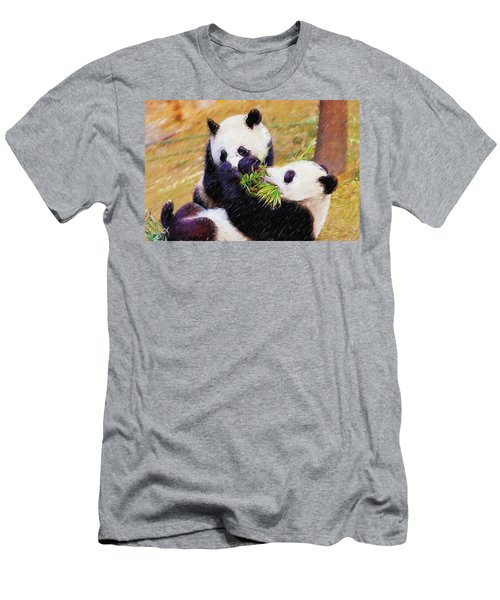 Men's T-Shirt (Slim Fit) featuring the painting Cute Pandas Play Together by Lanjee Chee