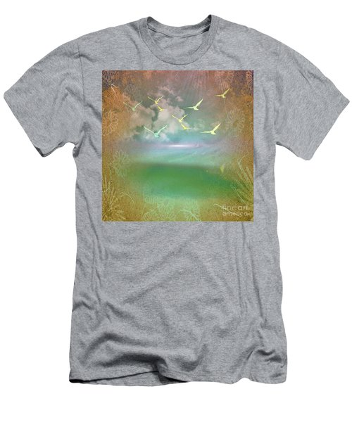 Day At The Beach Abstract Men's T-Shirt (Slim Fit) by Judy Palkimas