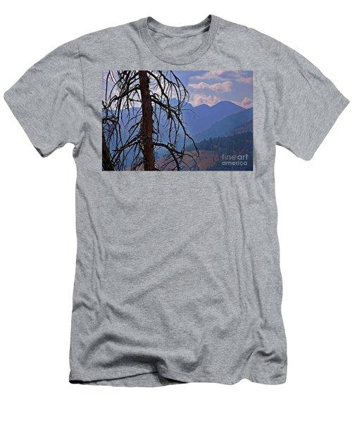 Dead Tree Mountains Landscape Men's T-Shirt (Slim Fit) by Valerie Garner