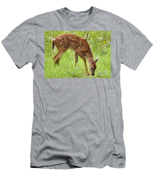 Men's T-Shirt (Slim Fit) featuring the photograph Little Fawn Blue Wildflowers by Nava Thompson