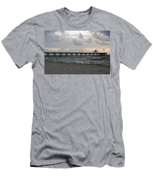 Men's T-Shirt (Slim Fit) featuring the photograph Deerfield Beach International Fishing Pier Sunrise by Rafael Salazar