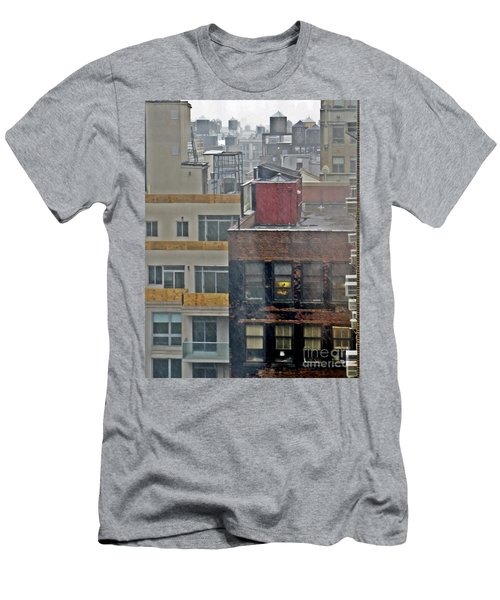 Men's T-Shirt (Slim Fit) featuring the photograph Desk Lamp Through Lit Window by Lilliana Mendez
