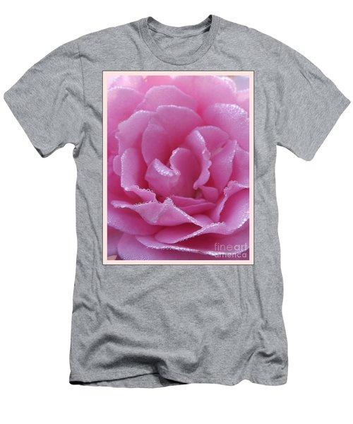 Dew Kissed Rose Men's T-Shirt (Slim Fit) by Sara  Raber