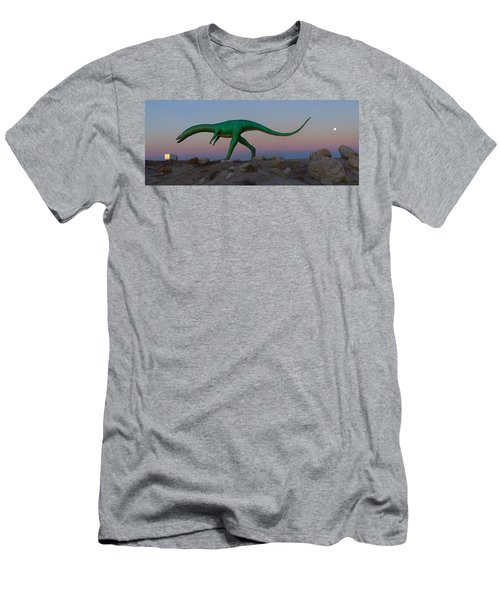 Dinosaur Loose On Route 66 2 Panoramic Men's T-Shirt (Athletic Fit)