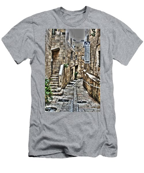 Men's T-Shirt (Slim Fit) featuring the photograph Downtown In Jerusalems Old City by Doc Braham
