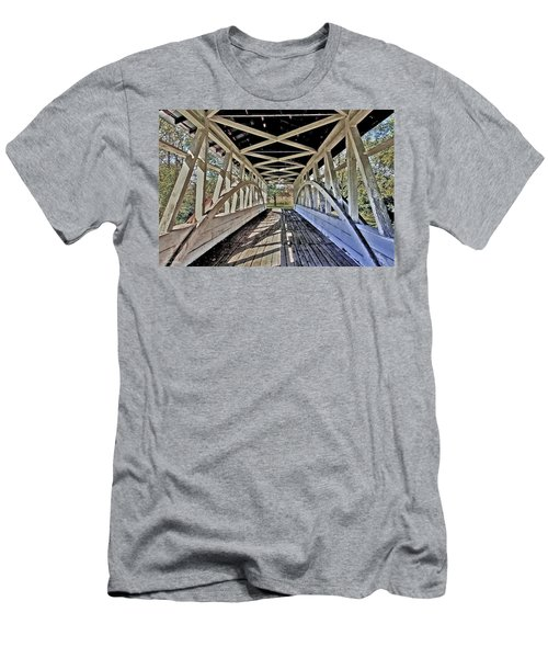 Men's T-Shirt (Slim Fit) featuring the photograph Dr. Knisely Covered Bridge by Suzanne Stout