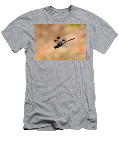 Dragonfly In Flight With Tan Background  Men's T-Shirt (Athletic Fit)