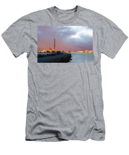 Dublin Port At Night Men's T-Shirt (Slim Fit) by Semmick Photo