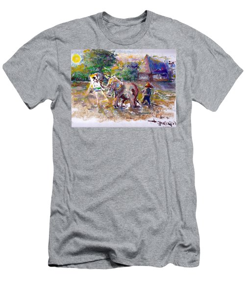 Men's T-Shirt (Slim Fit) featuring the painting Elephant Painting by Bernadette Krupa