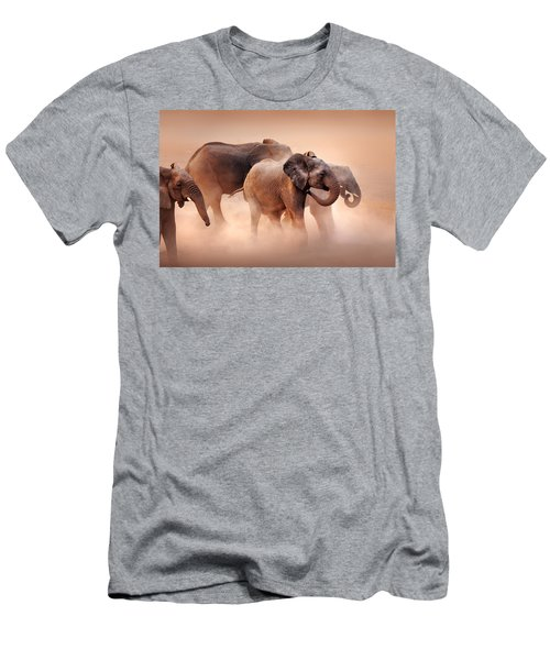 Elephants In Dust Men's T-Shirt (Athletic Fit)