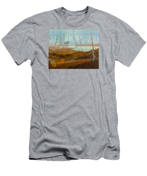 Men's T-Shirt (Slim Fit) featuring the painting Elk Swamp by Richard Faulkner