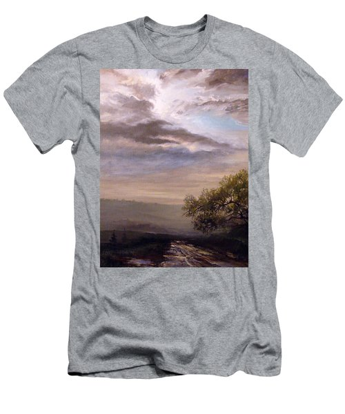 Men's T-Shirt (Slim Fit) featuring the painting Endless Road Eternal Being by Mikhail Savchenko