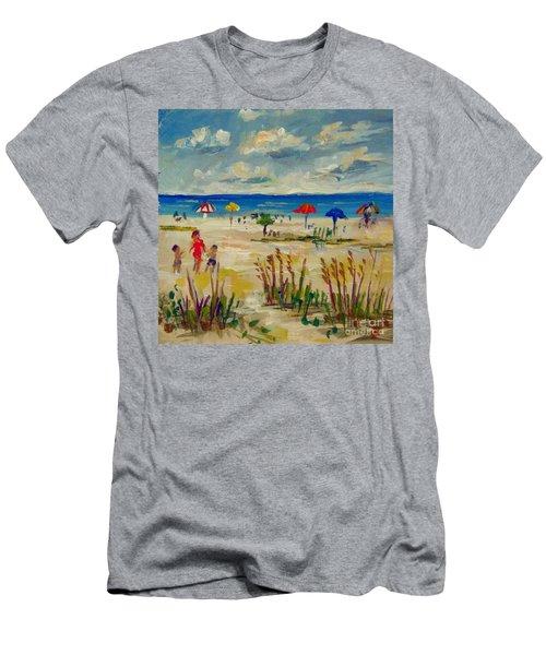 Men's T-Shirt (Slim Fit) featuring the painting Enjoying Siesta Beach by Lou Ann Bagnall