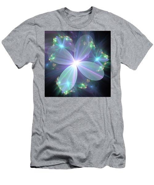 Men's T-Shirt (Slim Fit) featuring the digital art Ethereal Flower In Blue by Svetlana Nikolova