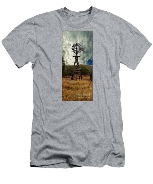 Face The Wind - Windmill Photography Art Men's T-Shirt (Slim Fit) by Ella Kaye Dickey