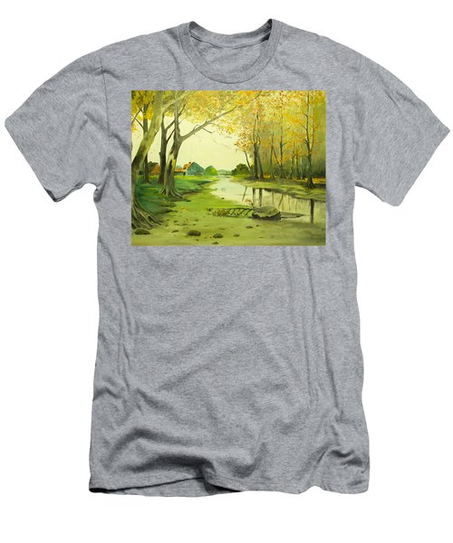 Fall By The Stream By Merlin Reynolds Men's T-Shirt (Athletic Fit)