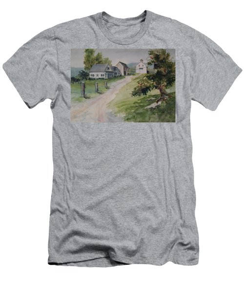 Men's T-Shirt (Slim Fit) featuring the painting Farm On Orchard Hill by Joy Nichols