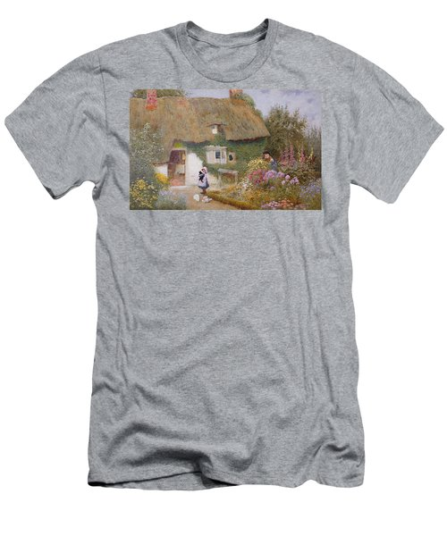 Feeding The Pigeons Men's T-Shirt (Slim Fit) by Arthur Claude Strachan