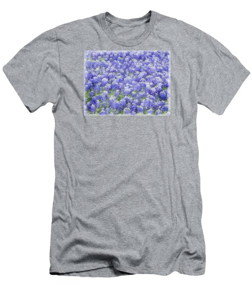 Men's T-Shirt (Slim Fit) featuring the photograph Field Of Bluebonnets by Kathy Churchman