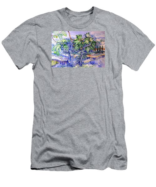 Fig Tree And Olive Trees In A Tuscan Garden Men's T-Shirt (Slim Fit) by Trudi Doyle