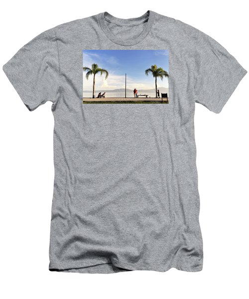 Men's T-Shirt (Slim Fit) featuring the photograph Fishing On Lake Chapala by David Perry Lawrence