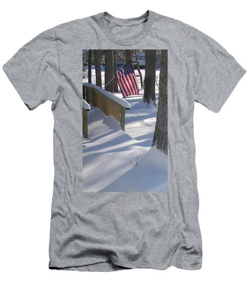 Flag Over Morning Snow Men's T-Shirt (Athletic Fit)