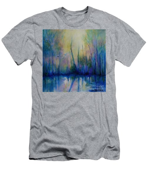 Men's T-Shirt (Slim Fit) featuring the painting Flight In Morning Symphony by Alison Caltrider