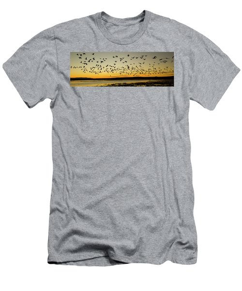 Flock Of Geese Rise Off Pond At Bosque Men's T-Shirt (Athletic Fit)