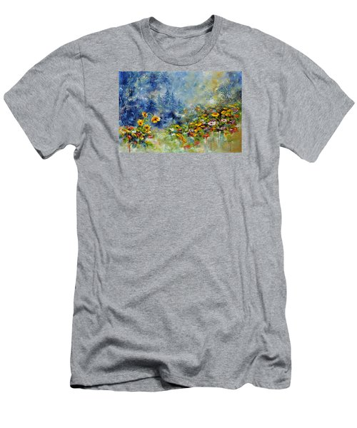 Men's T-Shirt (Slim Fit) featuring the painting Flowers In The Fog by Craig T Burgwardt