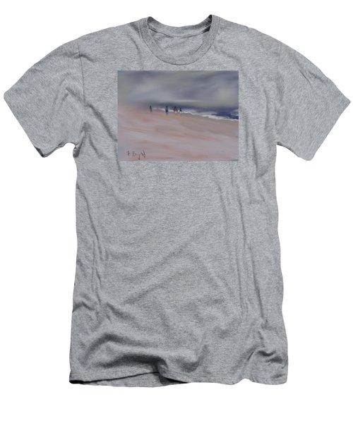Fog On Folly Field Beach Men's T-Shirt (Slim Fit) by Frank Bright