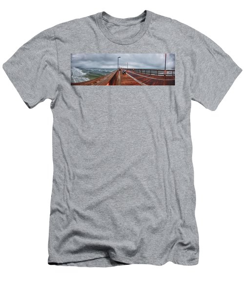 Men's T-Shirt (Slim Fit) featuring the digital art Foggy Pier  by Michael Thomas
