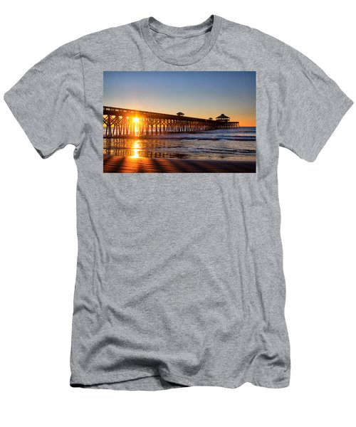 Men's T-Shirt (Slim Fit) featuring the photograph Folly Beach Pier At Sunrise by Lynne Jenkins