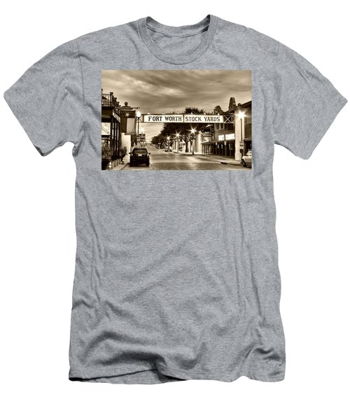 Fort Worth Stock Yards In Sepia Men's T-Shirt (Slim Fit)