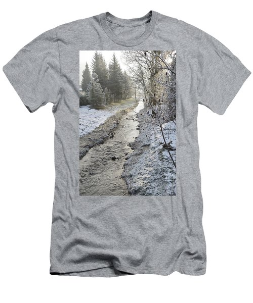 Men's T-Shirt (Slim Fit) featuring the painting Frozen Air by Felicia Tica