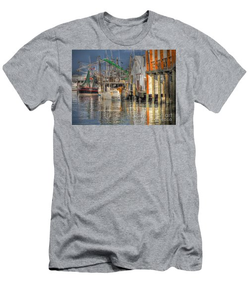 Men's T-Shirt (Slim Fit) featuring the photograph Galveston Shrimp Boats by Savannah Gibbs