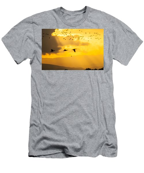 Geese At Sunset-2 Men's T-Shirt (Athletic Fit)