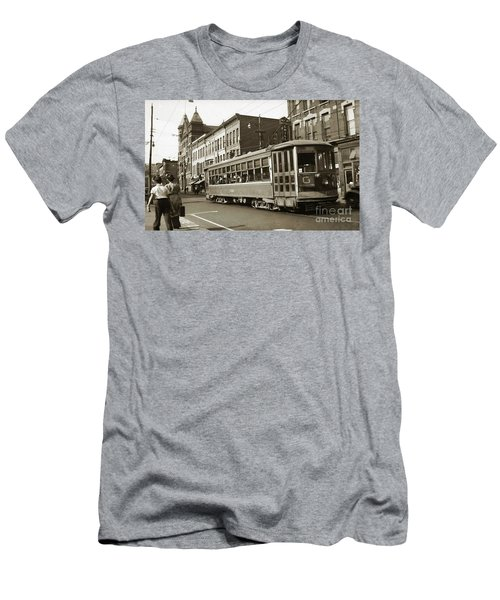 Georgetown Trolley E Market St Wilkes Barre Pa By City Hall Mid 1900s Men's T-Shirt (Athletic Fit)
