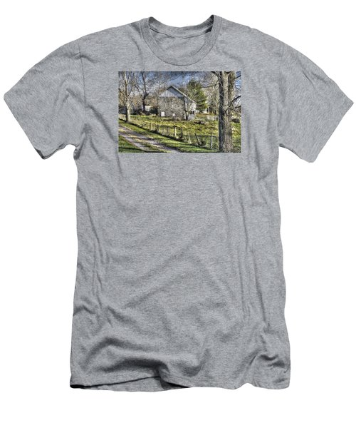 Men's T-Shirt (Slim Fit) featuring the photograph Gettysburg At Rest - Sarah Patterson Farm Field Hospital Muted by Michael Mazaika
