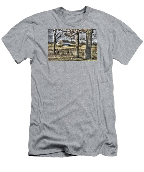 Men's T-Shirt (Slim Fit) featuring the photograph Gettysburg At Rest - Winter Muted Edward Mc Pherson Farm by Michael Mazaika