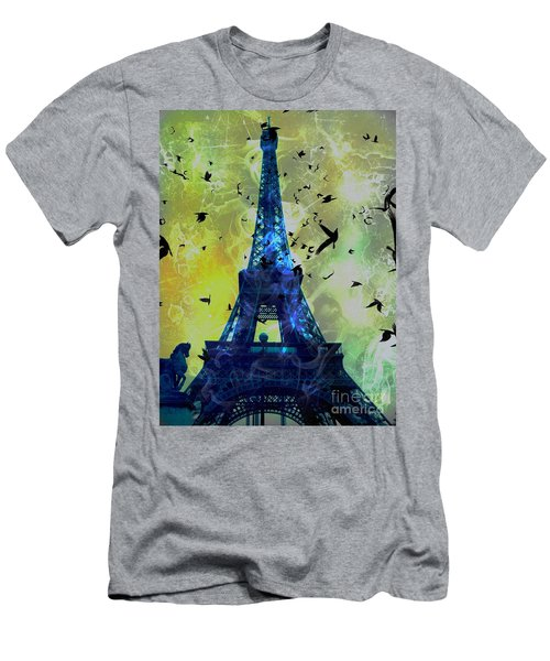 Glowing Eiffel Tower Men's T-Shirt (Athletic Fit)