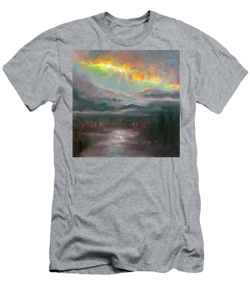 Gold Lining - Chugach Mountain Range En Plein Air Men's T-Shirt (Athletic Fit)